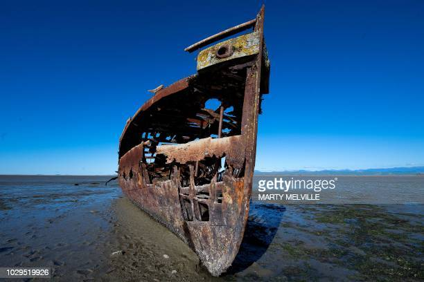 The wreck of the Janie Seddon is seen at Motueka in Nelson on September 8 2018