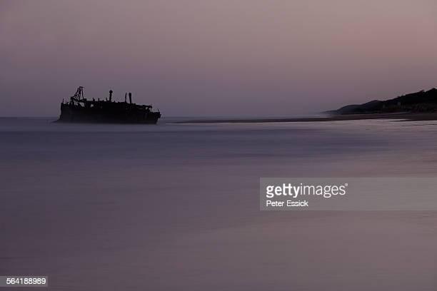 The wreck of the Maheno on the Eastern beach, Fraser Island, Australia.