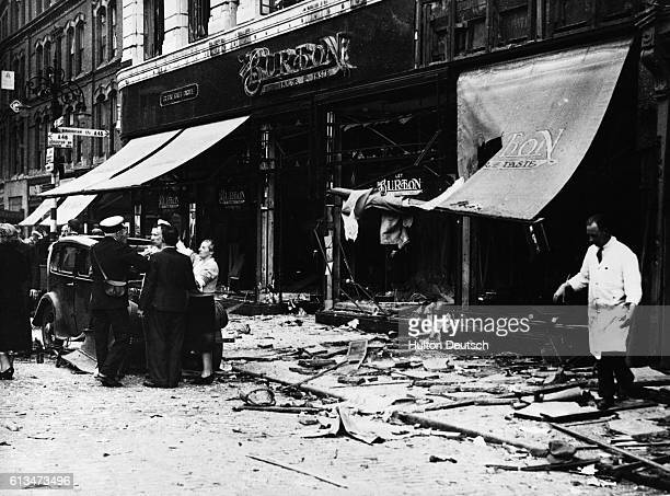 The wreckage in Broadgate Coventry after the explosion of an IRA time bomb which was placed in a tradesman's bicycle basket The blast killed five...