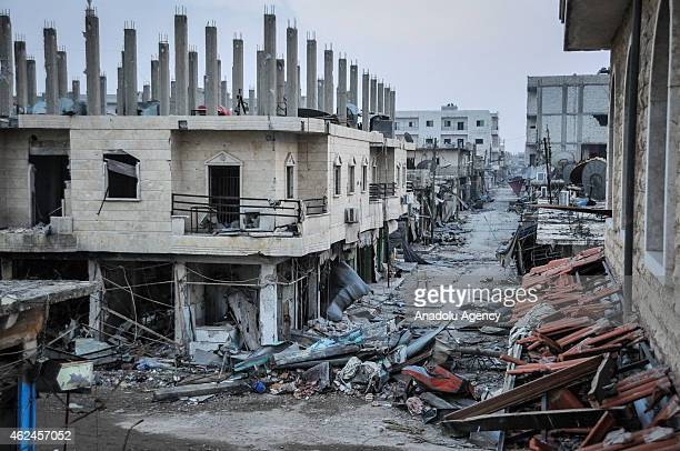 The wreckage left by fighting is seen in the center of the Syrian town of Kobani on January 28 2015 after it has been freed from Islamic State of...