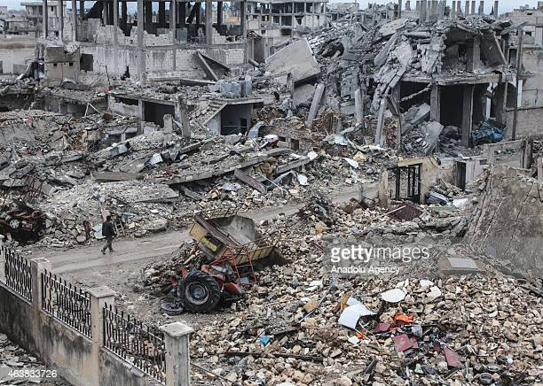 The wreckage left by fighting is seen in the center of the Syrian town of Kobani on February 18, 2015 after it has been freed from Islamic State of...