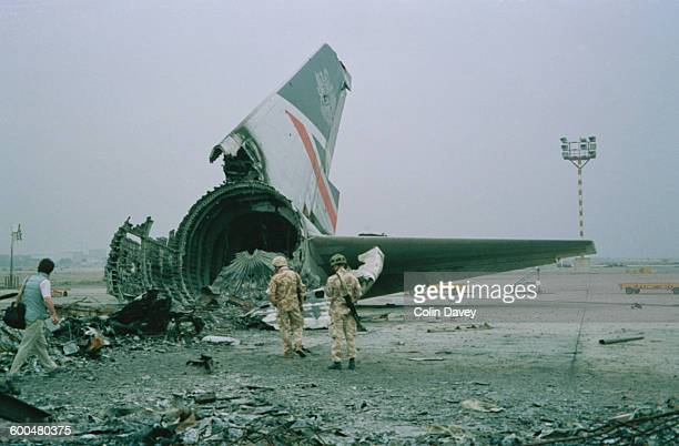 The wreckage of a British Airways Boeing 747-136 at Kuwait City airport, after BA Flight 149 was detained in Kuwait during the Gulf War, 1991.