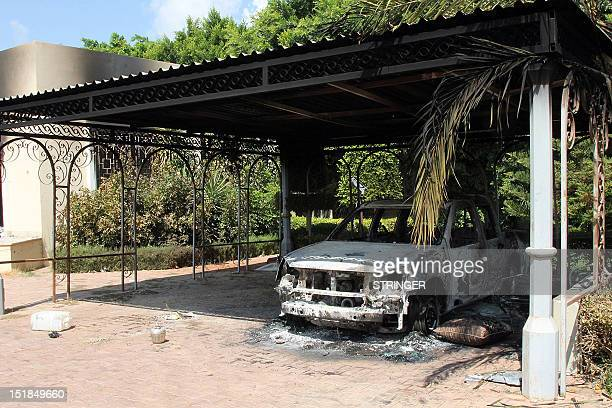 The wreckage of a car sits inside the US Embassy compound on September 12 2012 in Benghazi Libya following an overnight attack on the building The US...
