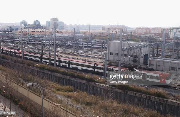 The wreckage of a commuter train is seen March 11, 2004 after it was devastated by a bomb blast during the morning rush hour in Madrid, Spain....