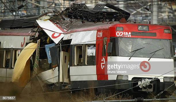 The wreckage of a commuter train is seen March 11 2004 after it was devastated by a bomb blast during the morning rush hour in Madrid Spain According...