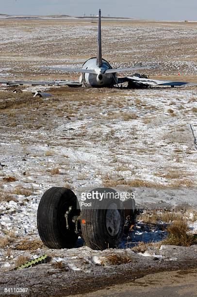 The wreckage of a Continental Airlines plane including landing gear sits at Denver International Airport December 22 2008 in Denver Colorado The...