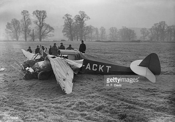 The wreckage of a General Aircraft Monospar ST4 the day after it crashed after hitting overhead power cables at Thrupp's Farm Lidlington Bedfordshire...