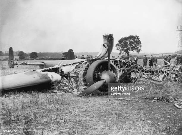 The wreckage of a German Dornier bomber aircraft brought down in the south London area by rifle fire from the local Home Guard during World War II...