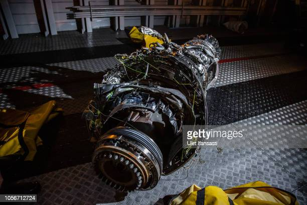 The wreckage of an engine from Lion Air Flight JT 610 recovered from the sea at the Tanjung Priok port on November 3 2018 in Jakarta Indonesia...