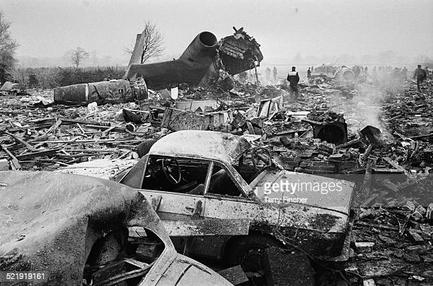 The wreckage of Ariana Afghan Airlines Boeing 727 after crashing into a house on its approach to London Gatwick Airport Fernhill West Sussex 5th...