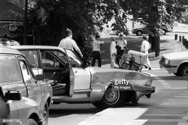 The wreckage of Ford Granada used in a getaway attempt after an armed robbery went wrong in Shooter's Hill London Police shot dead two men involved...