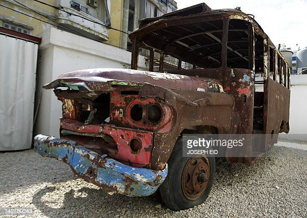 The wreckage of the Ain alRummaneh bus which triggered the Lebanese civil war 37yearsago is displayed in the parking lot of the UMAM Documentation...