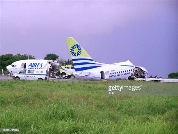 The wreckage of the Aires airlines aircraft that crashed upon landing on the airport of the Colombian island of San Andres on August 16 2010 At least...