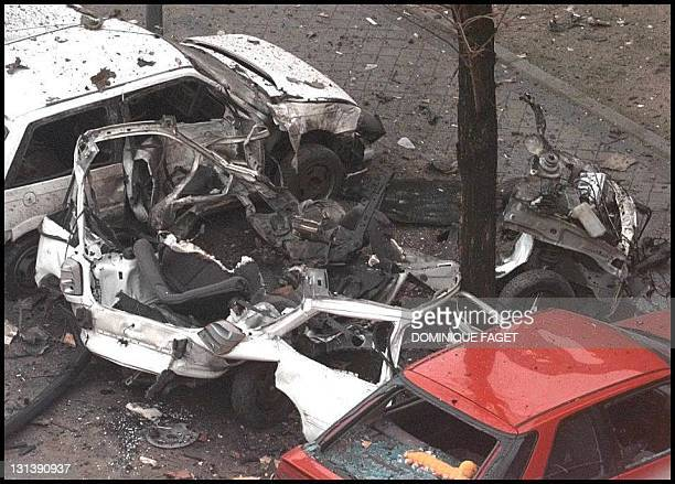 The wreckage of the bombed car lays in a shopping center's car park in the center of Madrid 08 January One person was injured in the blast which...