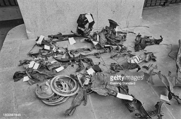 The wreckage of the car after the car bombing of the Old Bailey by the Provisional IRA in London, UK, 8th March 1973.