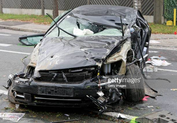 The wreckage of the car driven by Austrian farright leader Joerg Haider in which he died during a road traffic accident early October 11 2008 in...