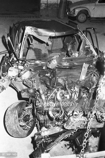 The wreckage of the car of Alfonso of Borbon a Citroen CX Palas after the accident when returning from the ski resort of Candanchu in which died his...