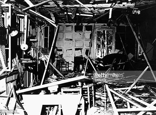 The wreckage of the Fuhrer Conference Room at Rastenburg after the building was bombed in a July 20 1944 attempt to assassinate Hitler