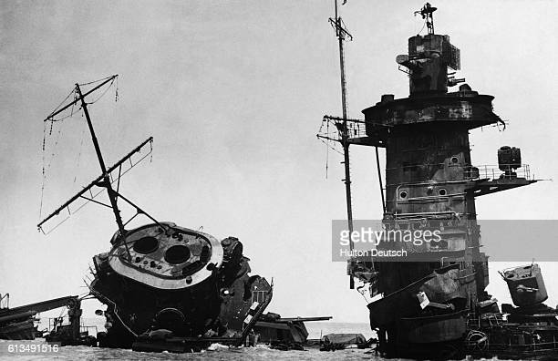 The wreckage of the German warship the Admiral Graf Spee which was scuttled by the British ships Ajax Achilles and Cumberland on the River Plate in...