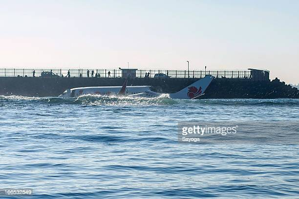 The wreckage of the Lion Air plane submerge in the sea on April 14 2013 in Badung Bali Indonesia The Lion Air passenger plane with over 100...