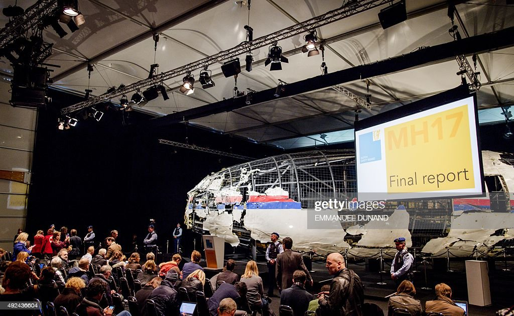The wreckage of the Malaysia Airlines flight MH17 is exhibited during a presentation of the final report on the cause of the its crash at the Gilze Rijen airbase October 13, 2015. Air crash investigators have concluded that Malaysia Airlines flight MH17 was shot down by a missile fired from rebel-held eastern Ukraine, sources close to the inquiry said today, triggering a swift Russian denial. The findings are likely to exacerbate the tensions between Russia and the West, as ties have strained over the Ukraine conflict and Moscow's entry into the Syrian war.