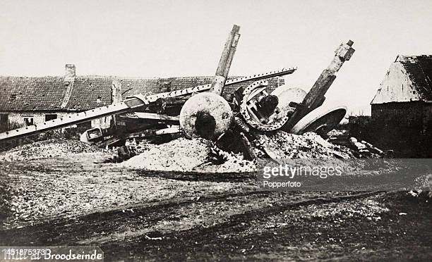 The wreckage of the Mill at Broodseinde following the third battle of Ypres or the Battle of Passchendaele during World War One circa July 1917