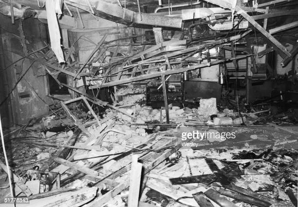 The wreckage of the Mulberry Bush pub in Birmingham, the day after it was bombed by the I.R.A. On 21st November 1974, killing ten people. Another...