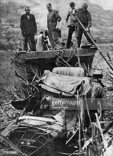 The wreckage of the Packard OneTwenty car in which King Leopold III of Belgium was injured and his wife Queen Astrid of Belgium was killed...