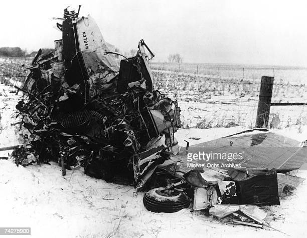 The wreckage of the plane crash that killed rock stars Buddy Holly Ritchie Valens and The Big Bopper On February 3 1959 outside of Clearlake Iowa