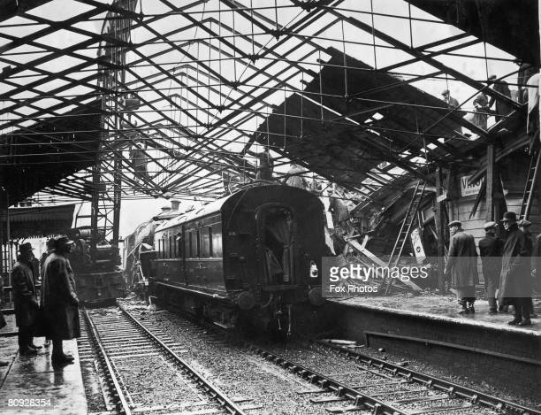 The wreckage of the Scottish Express from Euston at Bletchley station Buckinghamshire after part of the train crashed into a second train it was due...