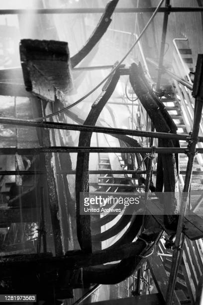 The Wreckage of the ship Vasa in the exhibition hall of the time on Beckholmen, 1969.