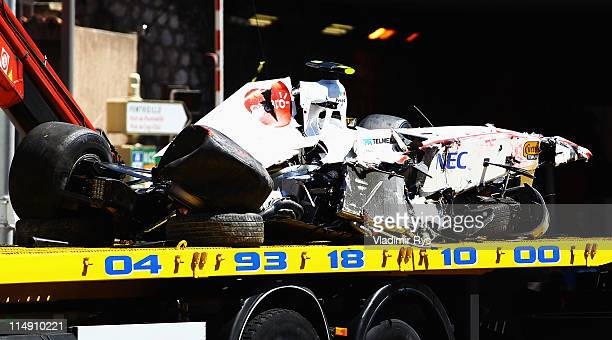 The wrecked car of Sergio Perez of Mexico and Sauber F1 is seen following his crash during qualifying for the Monaco Formula One Grand Prix at the...