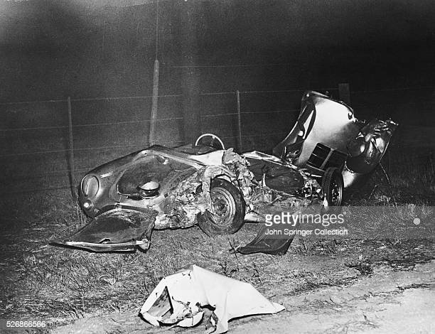 The wrecked remains of James Dean's Porsche 550 Spyder at the site of the accident The 24yearold film star was killed on the evening of September...