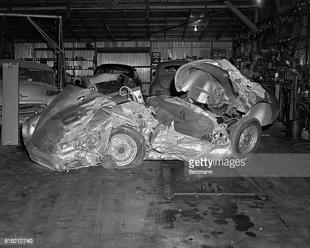 The wrecked remains of the James Dean's Porsche 550 Spyder Little Bastard lie in the garage of a repair shop in Paso Robles California The 24yearold...