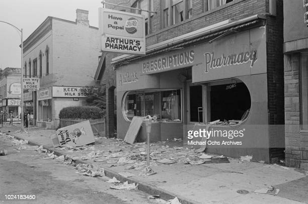 The wrecked shopfront of Arthur's Pharmacy on Joseph Avenue during the 1964 Rochester race riot in Rochester New York State 25th26th July 1964