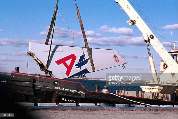 The wrecked tail from American Airline flight 587 is lifted out of Jamaica Bay November 12 2001 in Far Rockaway New York City The plane with 255...