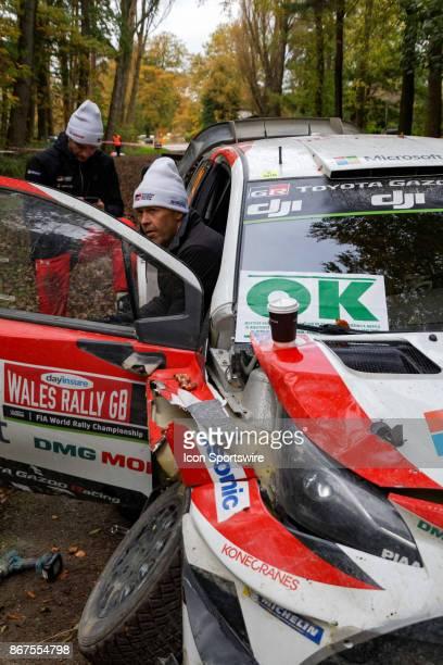 The wrecked Toyota Yaris WRC rally car of Juho Hanninen and codriver Kaj Lindstrom of Toyota Gazoo Racing following a crash on the Cholmondeley...