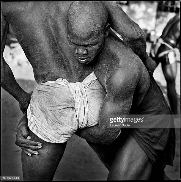 The wrestler Khadim from the Ndakaru stable during a training session in the Medina neighbourhood of Dakar Senegal