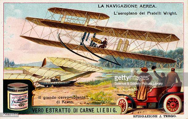 The Wright brothers aeroplane taking flight Liebig trade card c1910 'La Navigazione Aerea' One of a set of trade cards showing Orville and Wilbur...