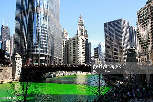 The Wrigley Building serves as a backdrop as Chicagoans line along the Wabash Avenue Bridge and Riverwalk after members of the Plumber's Union poured...