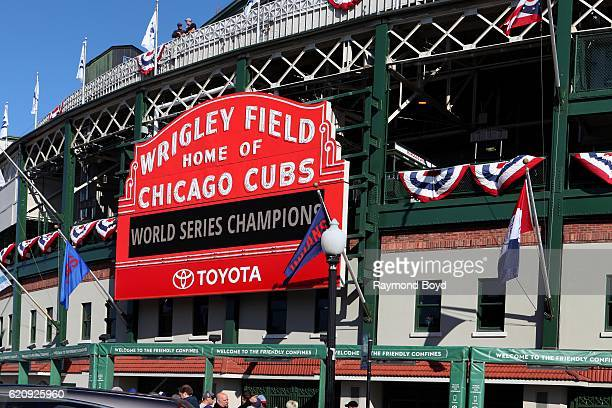 The Wrigley Field marquee displaying 'World Series Champions' after the Chicago Cubs' world series win against the Cleveland Indians in Chicago...