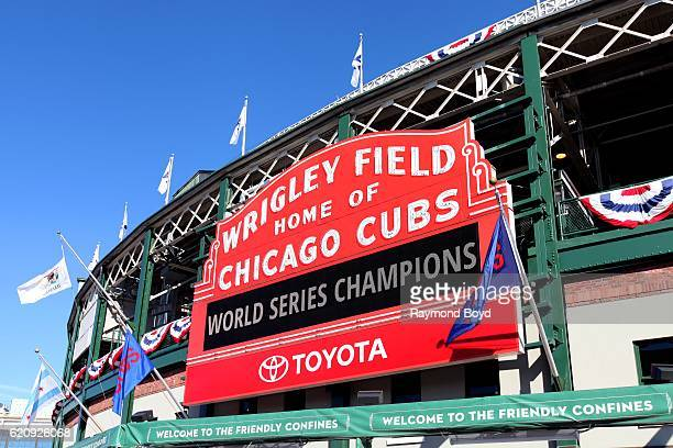 The Wrigley Field marquee, displaying 'World Series Champions' after the Chicago Cubs' world series win against the Cleveland Indians in Chicago,...