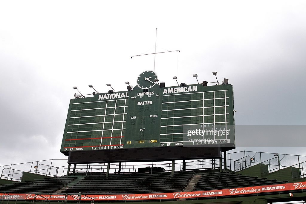 The Wrigley Field scoreboard, in Chicago, Illiinois on OCTOBER