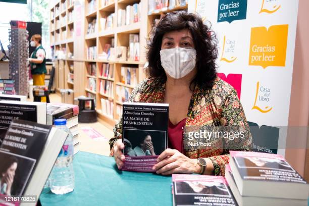 the writer Almudena Grandes during the signing of her book in the reopening of the bookshop La Casa del Libro de Gran Vía after the Covid19 crisis in...