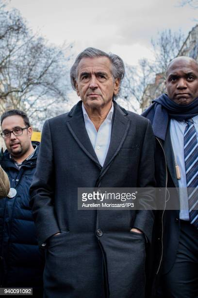 The writer and philosopher Bernard Henry Levy at the Silent March In Memory Of Mireille Knoll who survived the Holocaust but was recently murdered in...
