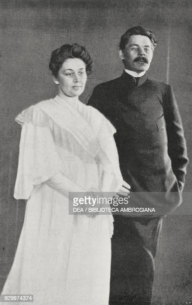 The writer and playwright Maxim Gorky and his wife Maria Fyodorovna Andreyeva , photograph by Adolfo Croce, from L'Illustrazione Italiana, Year...
