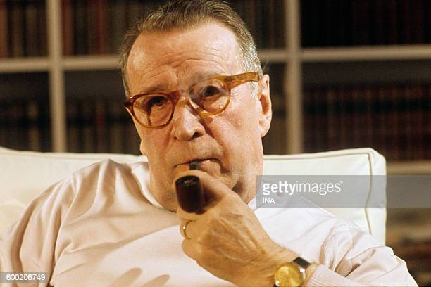 The writer Georges Simenon during an interview in Lausanne for the television news.
