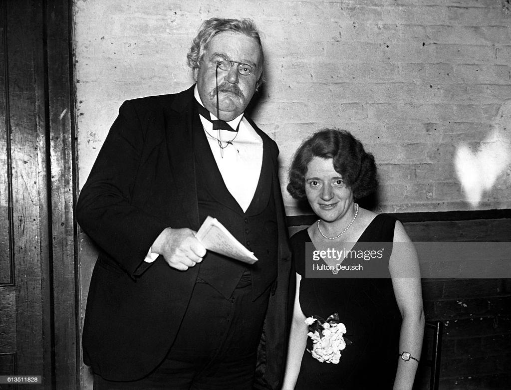 G.K. Chesterton and Ellen Wilkinson M.P. : News Photo