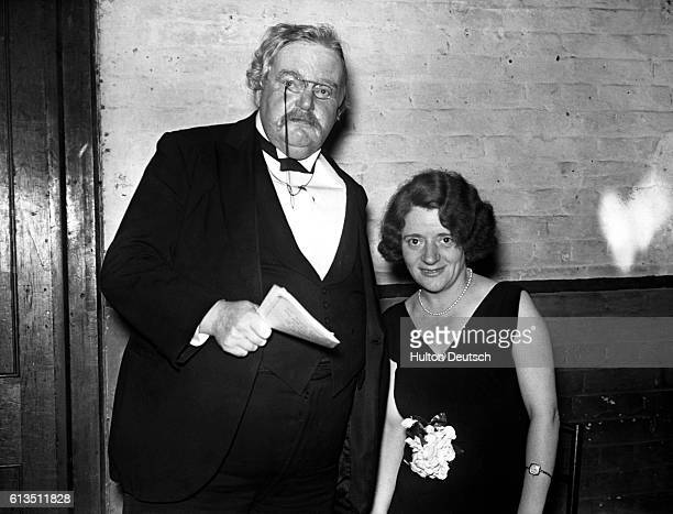 The writer GK Chesterton with Miss Ellen Wilkinson MP at the Prince of Wales Theatre after attending Love game 1931