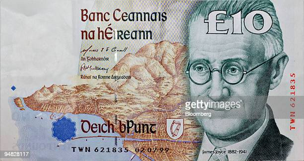 The writer James Joyce is depicted on a 10 pound note the former currency of Ireland June 16 2005 in New York